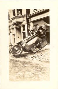 Overturned Car at 57 Broad Street After the 1938 Tornadoes
