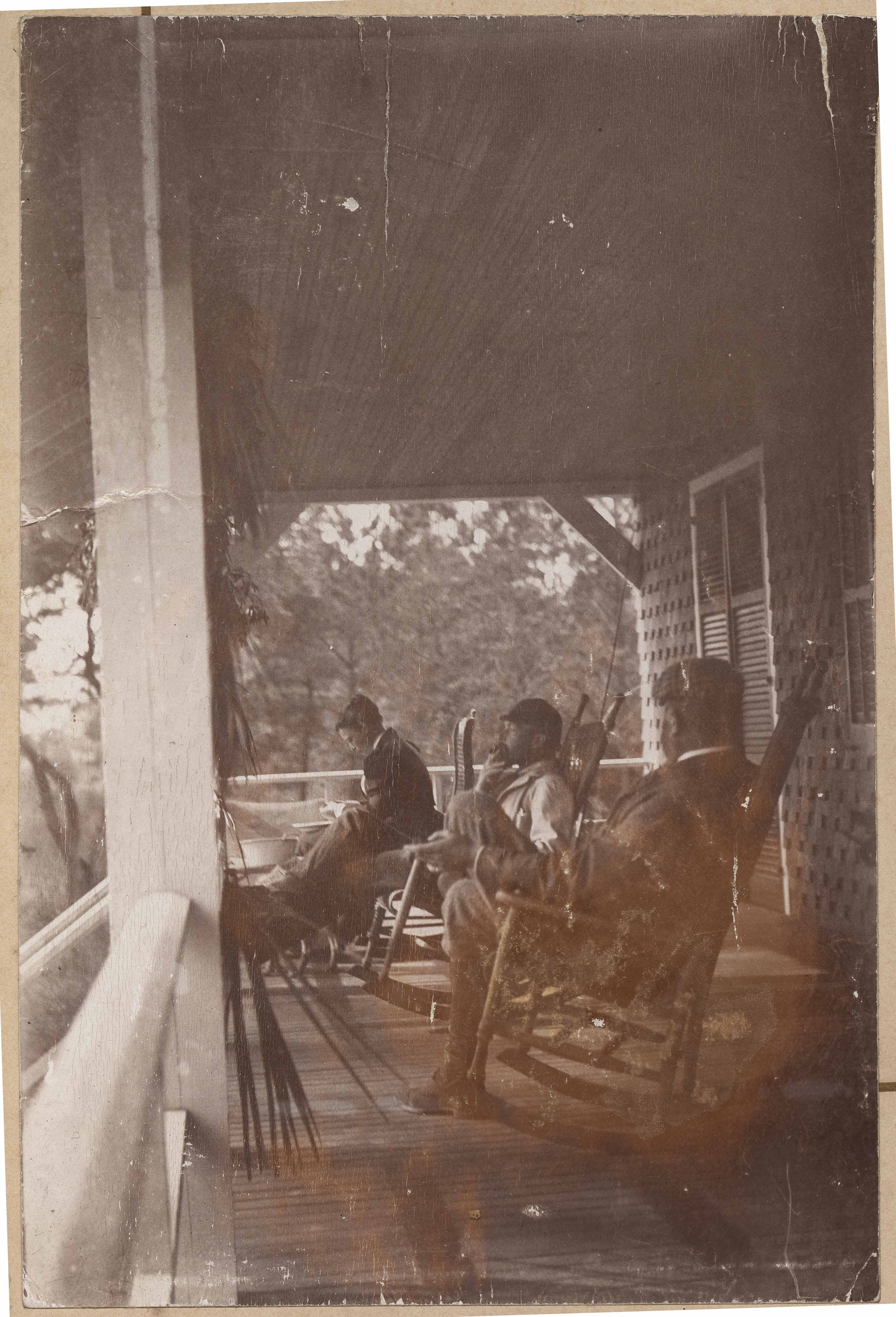 Rocking the time away on the front porch of Halls Island main house