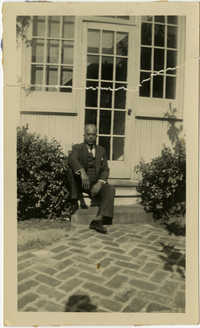 Herbert U. Seabrook, Sr. sitting on doorstep