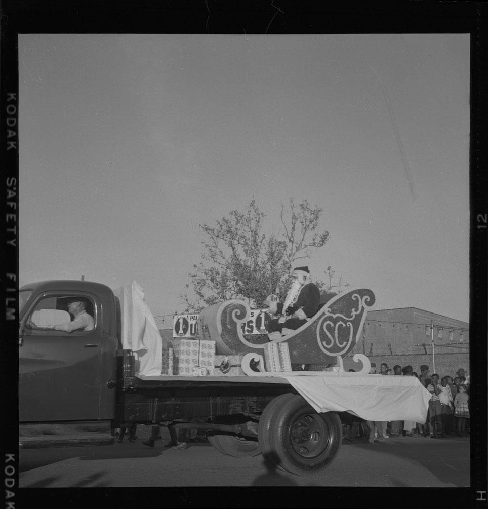 Santa Claus in his sleigh during the Christmas parade