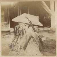 Model boat keel, folded umbrella, boot and tree stump