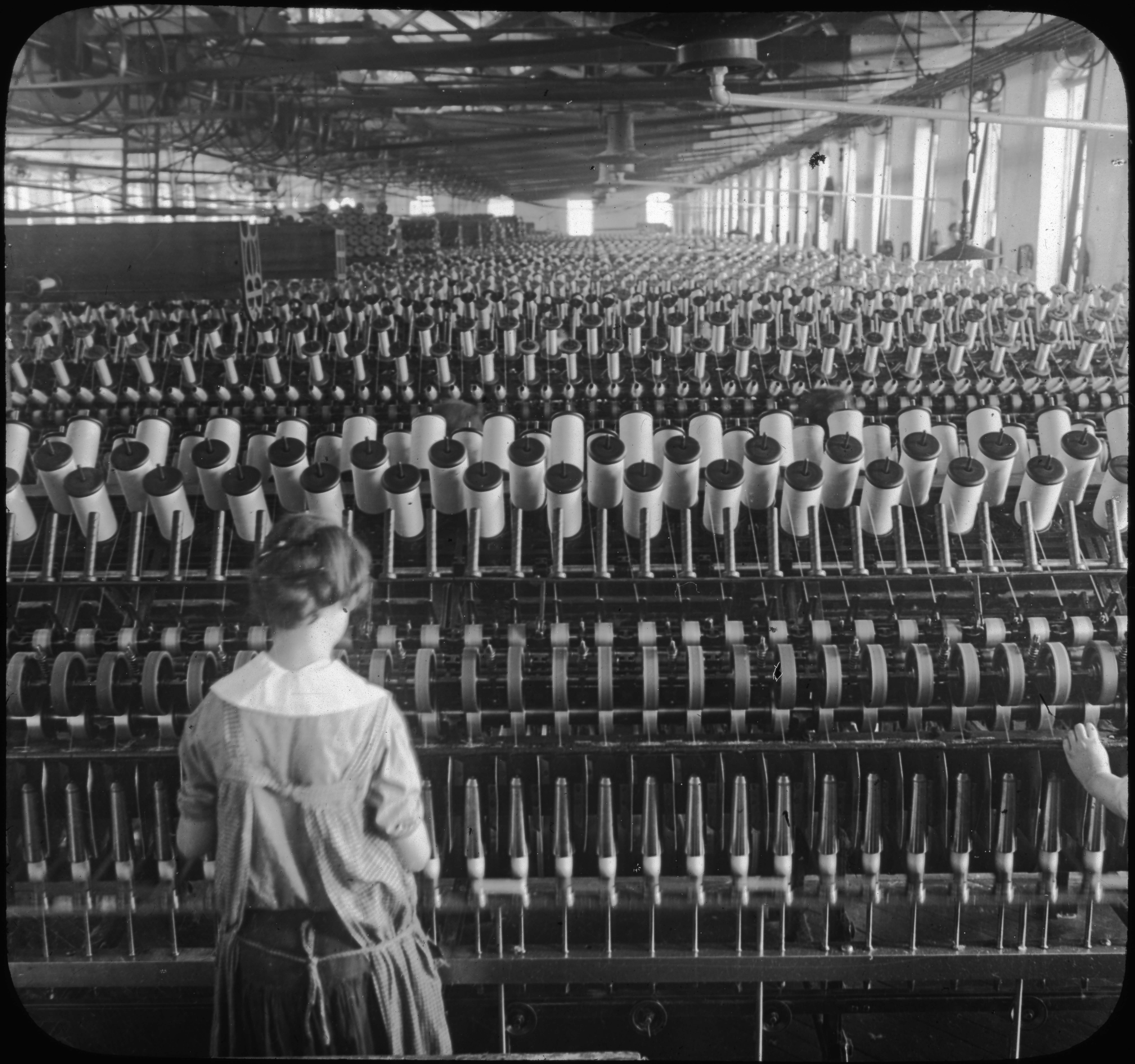 Spinning Room, Winding Bobbins with Woolen Yarn, Phila. Pa.