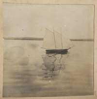 Model boat at sail on river