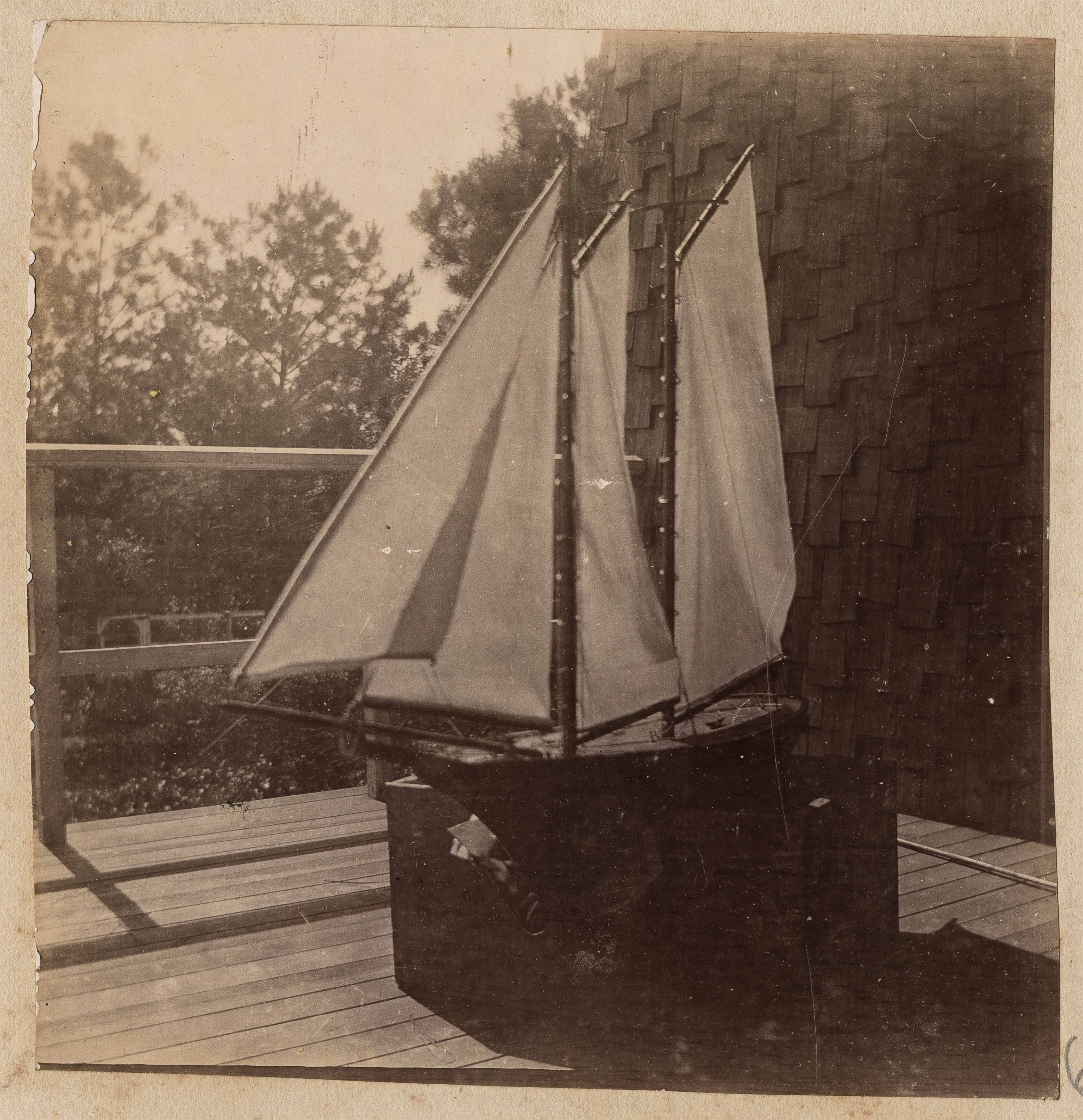 Four sails on model boat