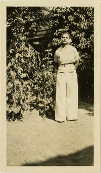 Miriam DeCosta Seabrook standing in front of tree