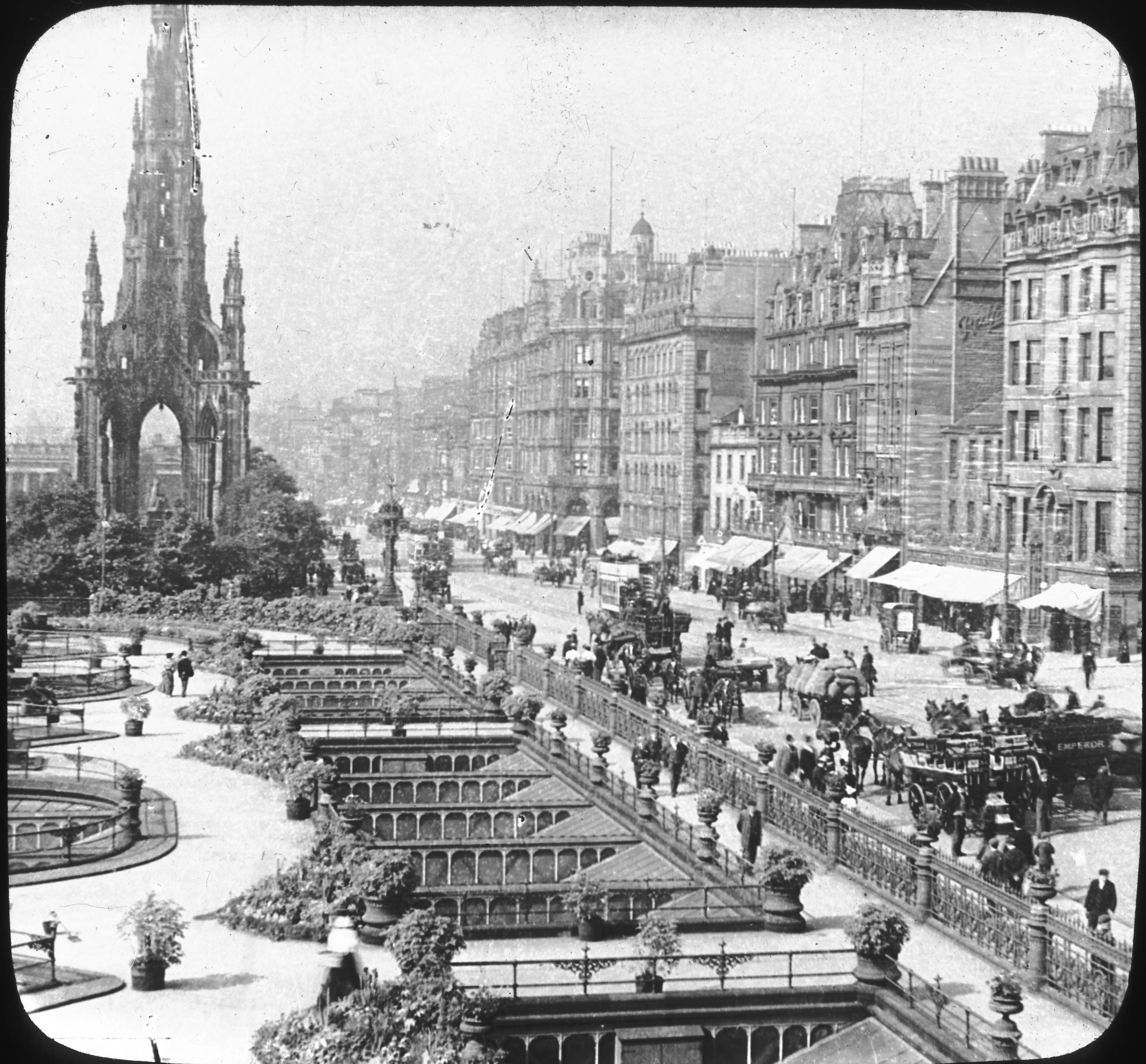 Princess Street, and Waverly Gardens, Edinburg, Scotland.