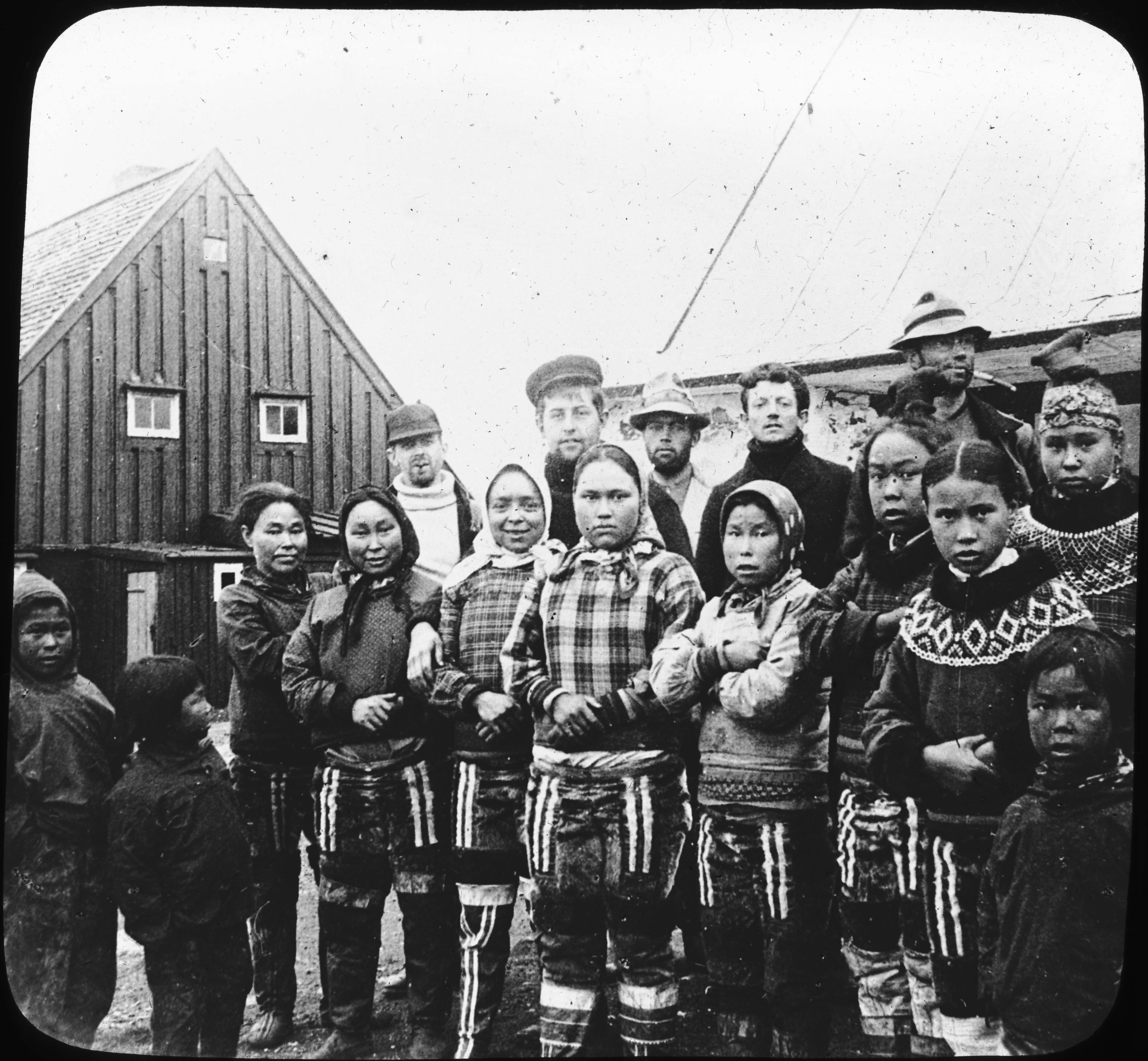 Eskimo Girls and Part of Crew S.S. Eric-At Upernavik, Greenland.
