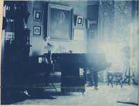 Room interior.  Piano and portrait dominate room.