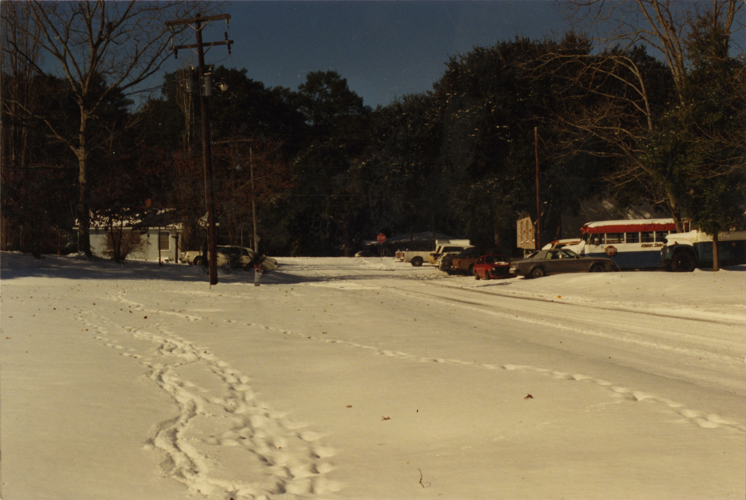 Snow on Prince Street looking towards Ribaut Road