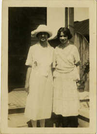Miriam DeCosta Seabrook and Eugenia DeCosta Higgins standing outside