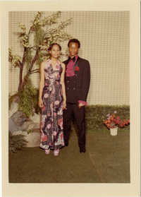 Formal photograph of Sharon Peters and prom date, Keith Gains