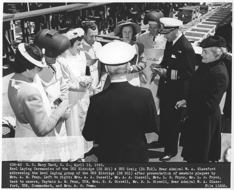 USS Eldridge (DE 201) and USS Craig (DE 202) Keel Laying Ceremony