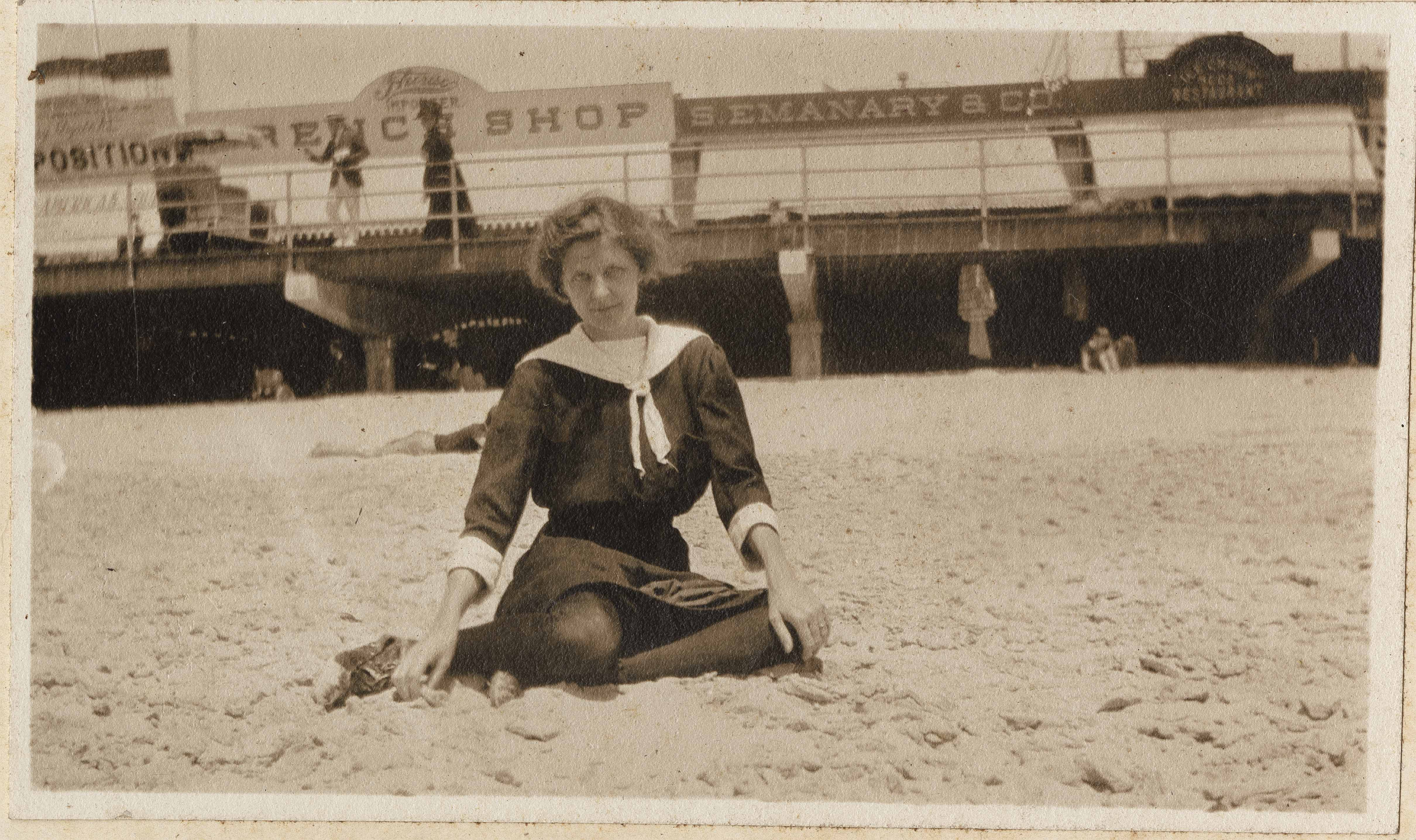 Pauline Donner in front of boardwalk at beach