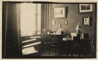 Desk within room interior, probably the home of Christopher and Pauline Donner in Philadelphia