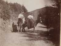 Two women on mules with hills in background