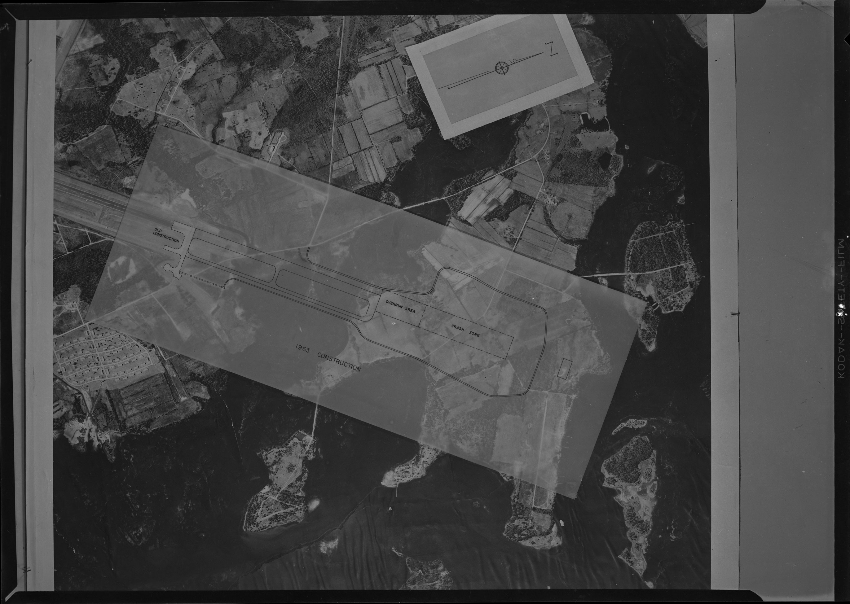 Aerial image of Marine Corps Air Station with plan of 1963 Construction landing strip overlaid