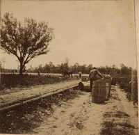 Men working near barrels