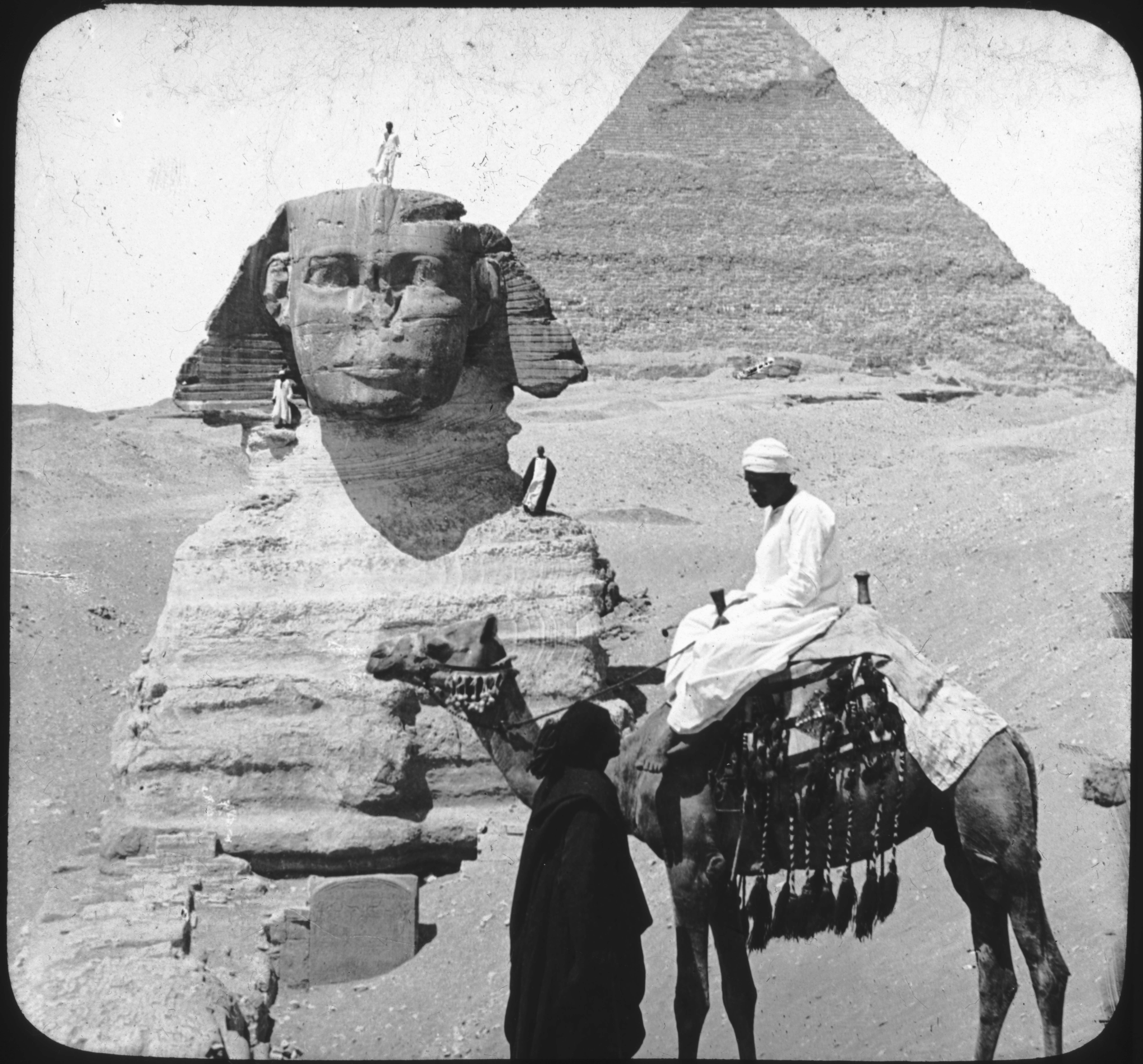The Sphinx and the Second Pyramid, Gizeh, Egypt.
