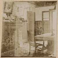 Interior room at Halls Island with prominent fireplace