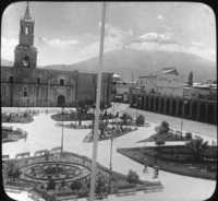 Across the Plaza in Arequipa to Monte Misti, Peru, So. Amer.