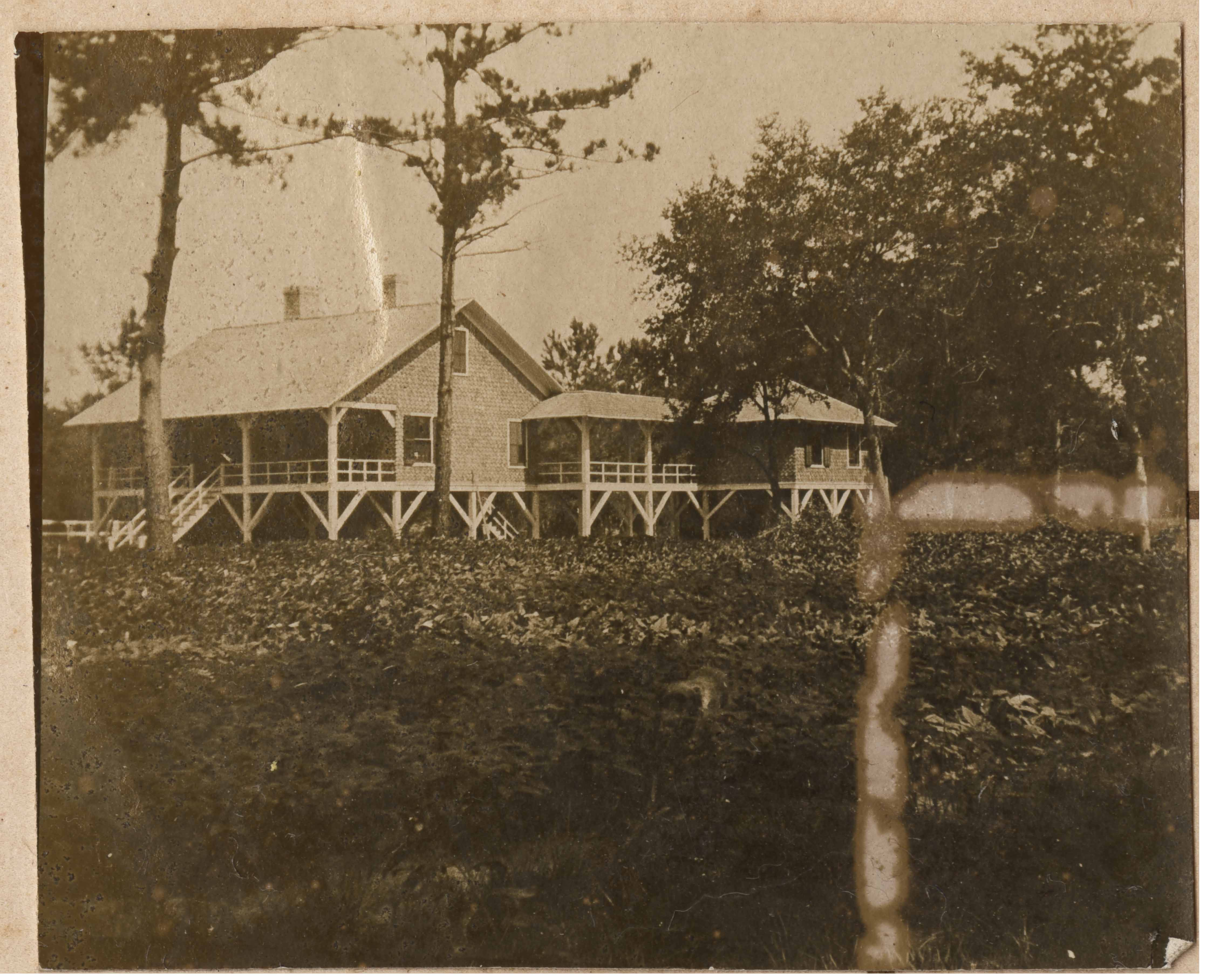View of Main House at Halls Island from right showing right back porch