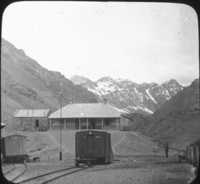 Station in the Andes, Trans-Andine Railway.