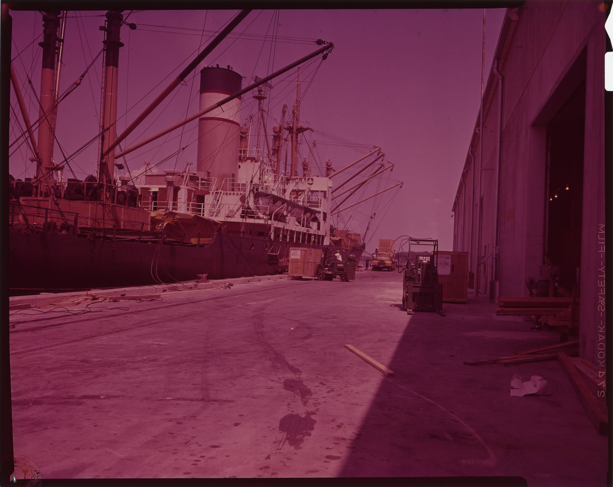 Unloading a cargo ship at the Port of Port Royal