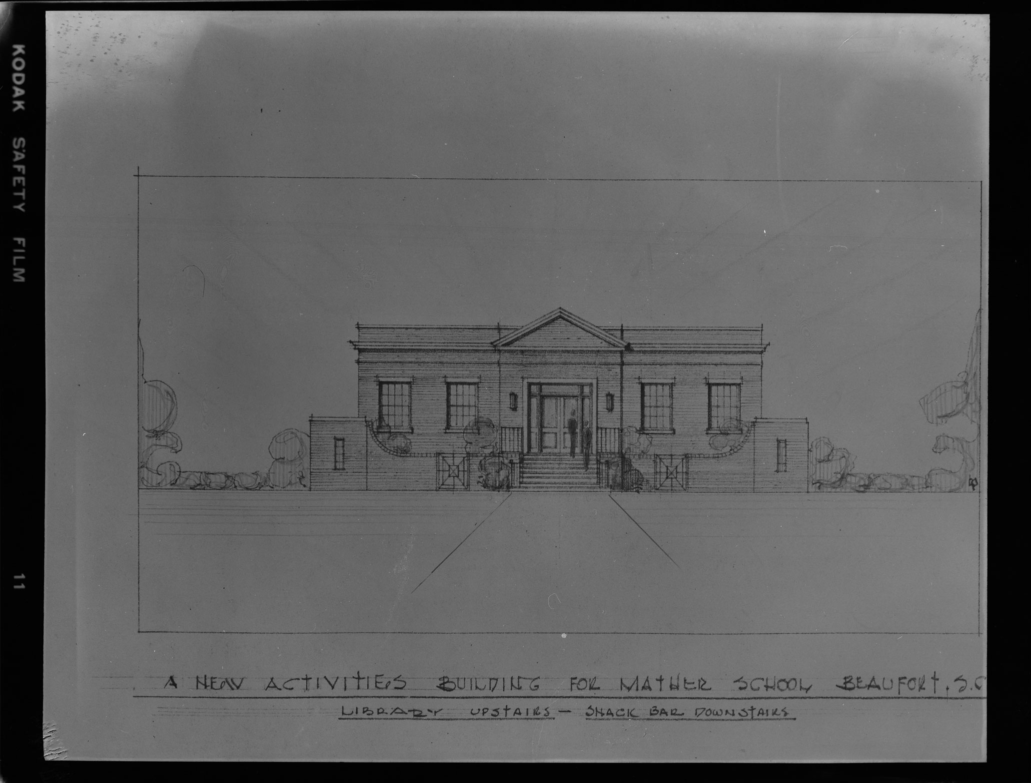 New Activities Building for Mather School architectural drawing by Augustus E. Constantine of Charleston, S.C.