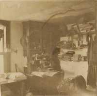 Cluttered desk at Halls Island
