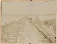 Railroad tracks on trestle