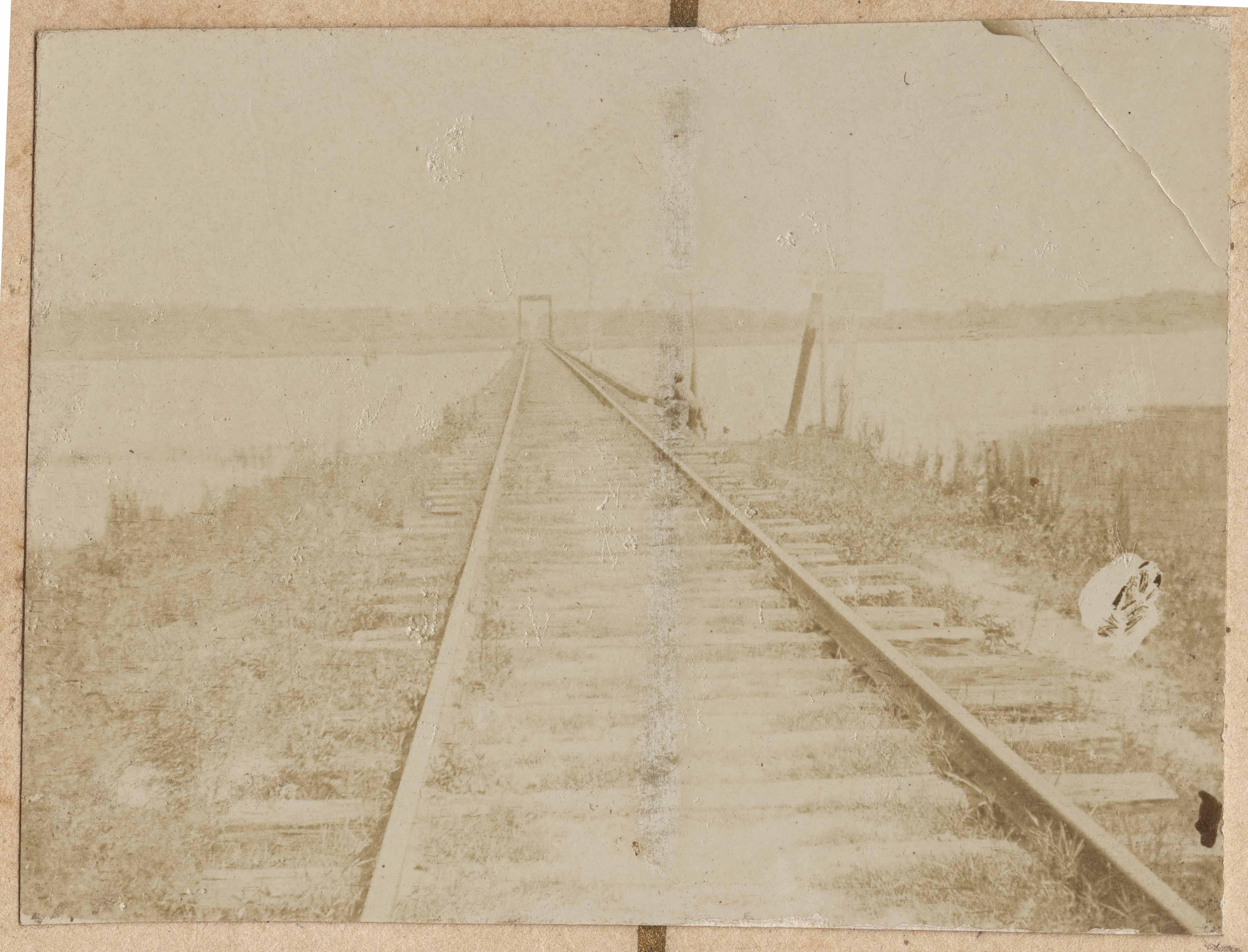 Railroad tracks on trestle