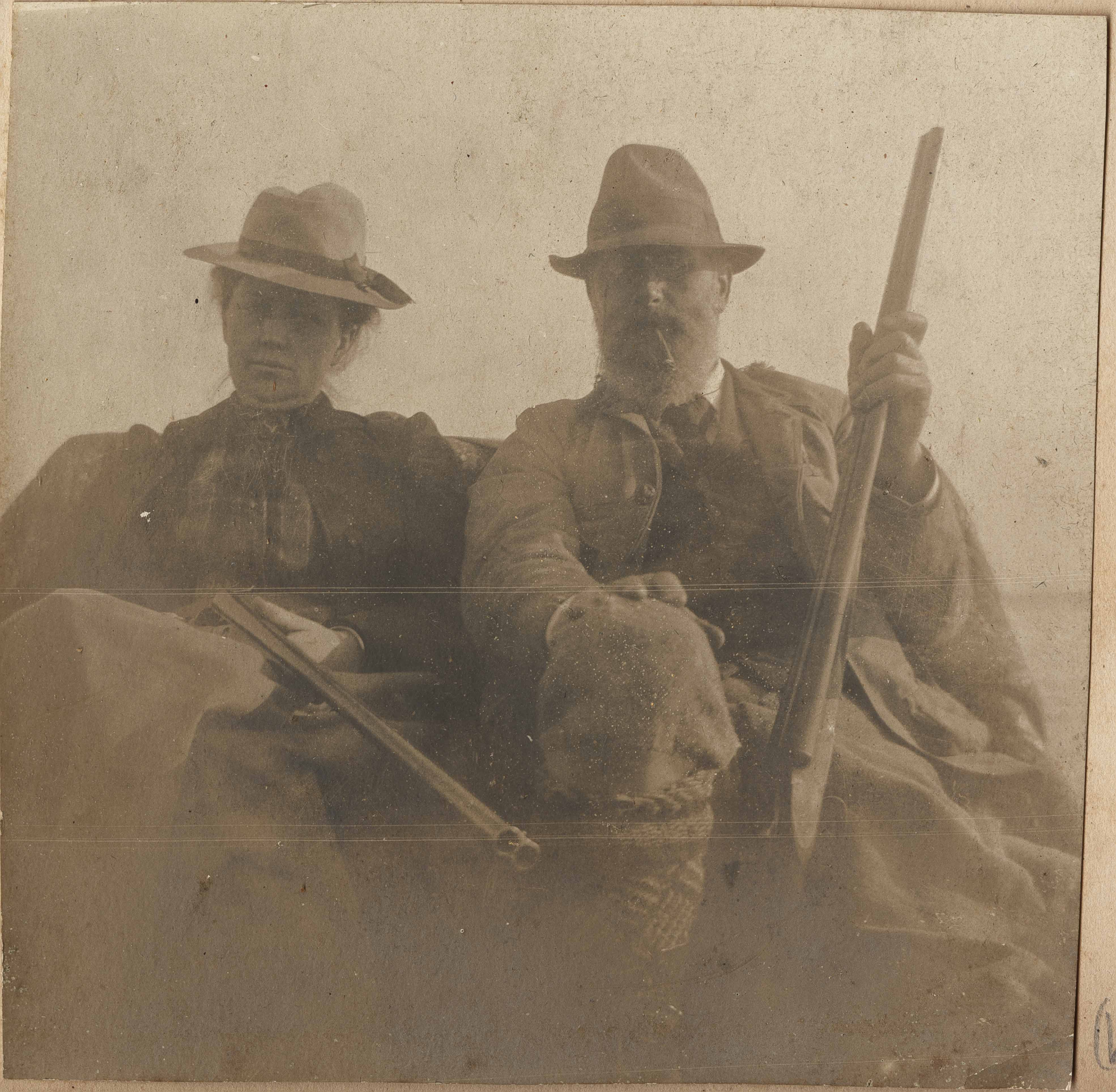 Pauline Donner and Conrad Donner with hunting guns