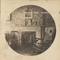 Room interior.  Two chairs by fire grate.