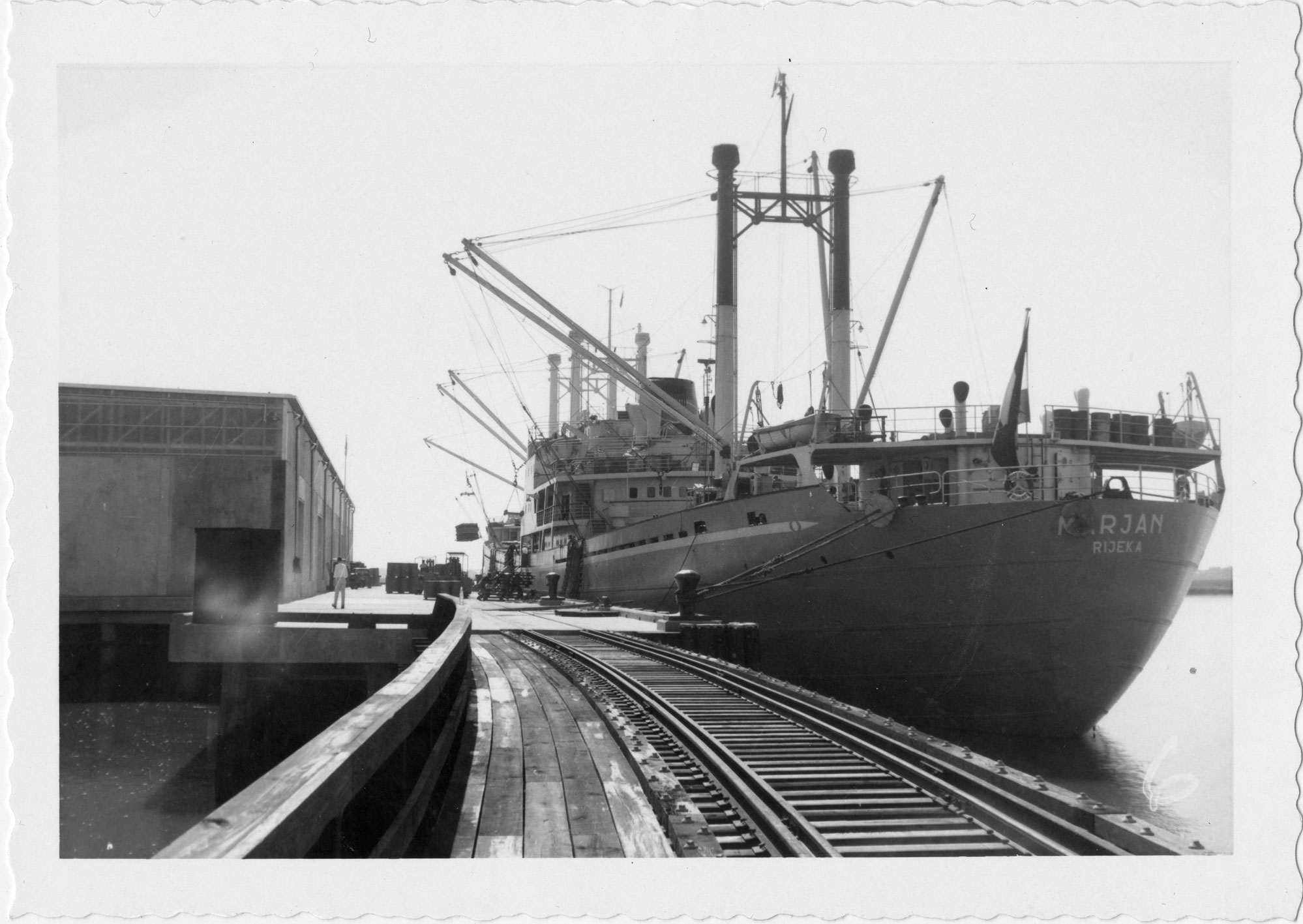 The Marjan docked at the Port of Port Royal; railroad tracks prominent in foreground