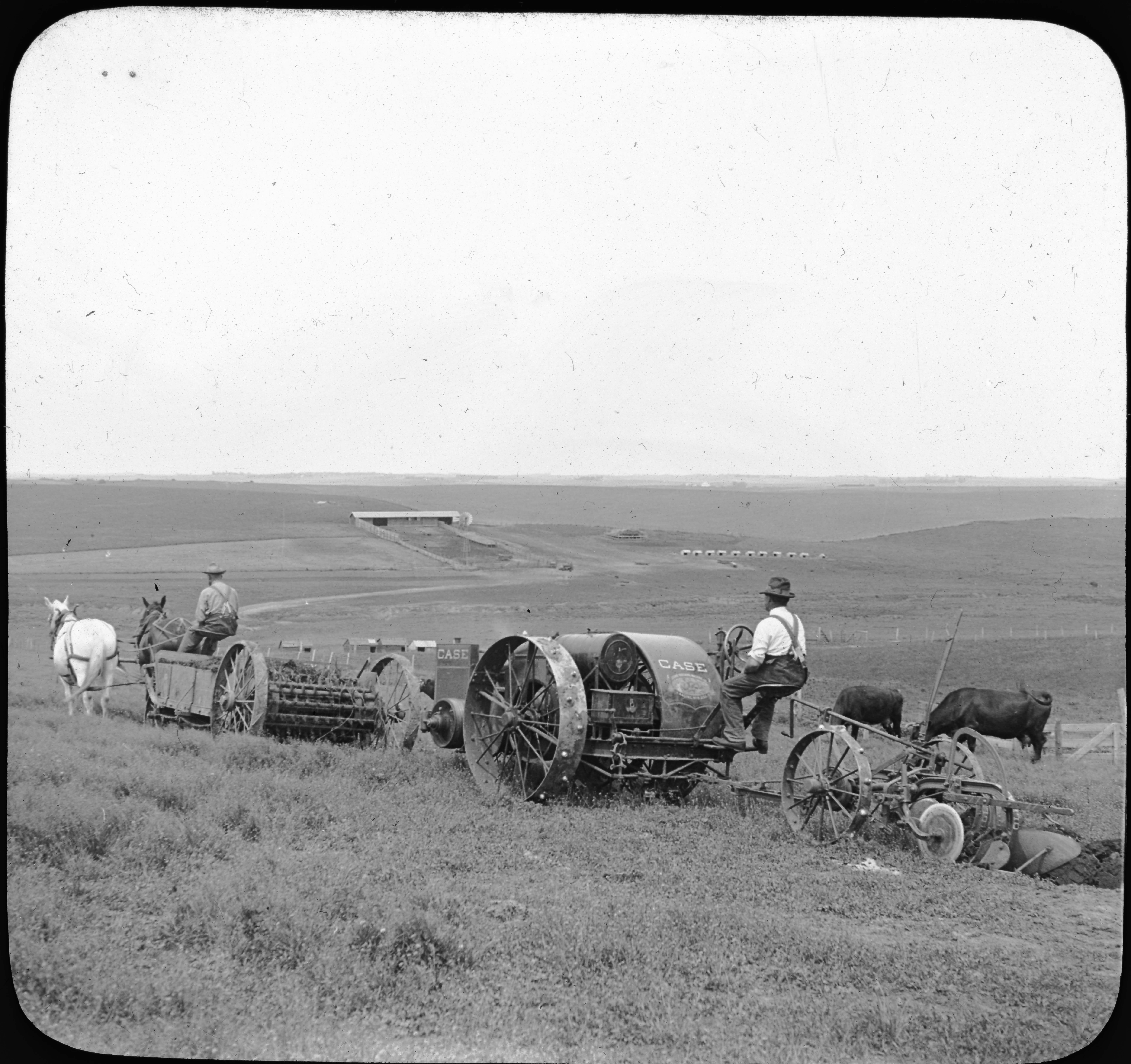 Spreading Manure and Plowing with Tractor, Nebraska.
