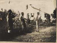 Workers near the dependency at Halls Island