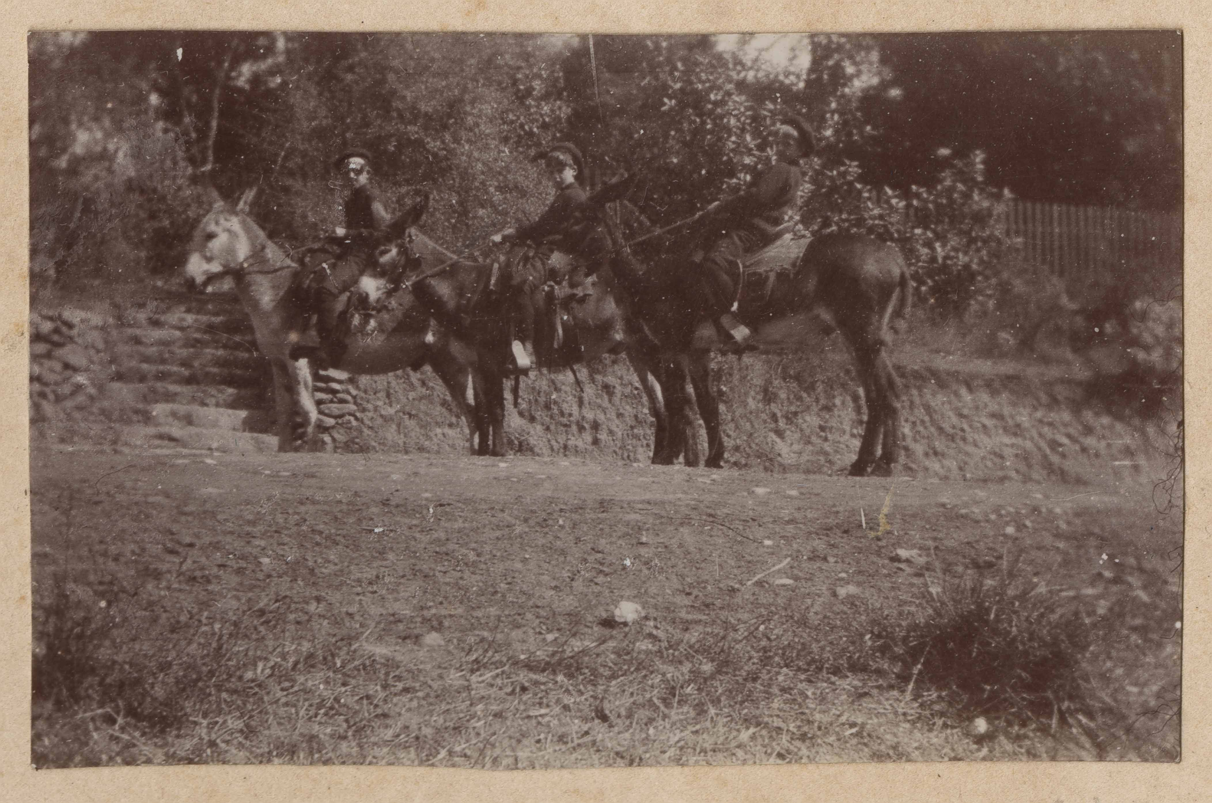 Two people astride mules