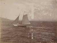Schooner under sail.