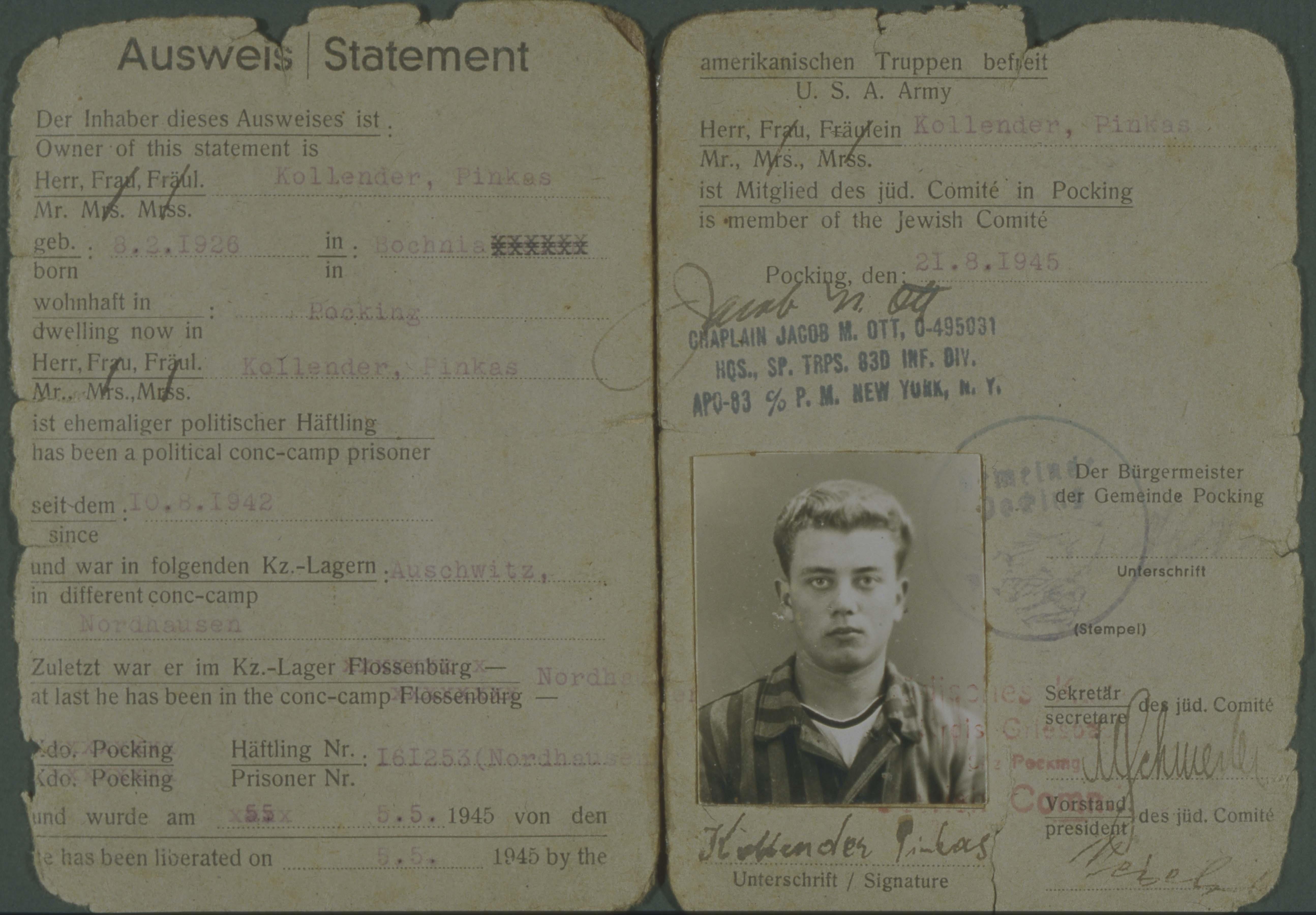 Pincus Kolender's ID card, Pocking, Germany 1945