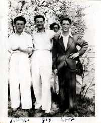 Joe and Ben Engel (brother) and  2 others, DP camp Zeilsheim, 1946