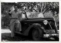 Joe Engel with someone's Mercedes, DP camp Zeilsheim, 1946