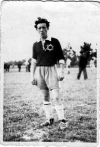 Joe Engel in soccer uniform, DP camp Zeilsheim, 1946